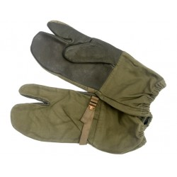 рукавицы Бундесвер 3-х палые. кожаные вставк. oliv.