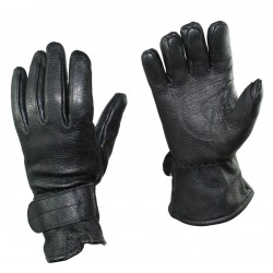 Перчатки кожаные Австрия, на липучке, Чёрные